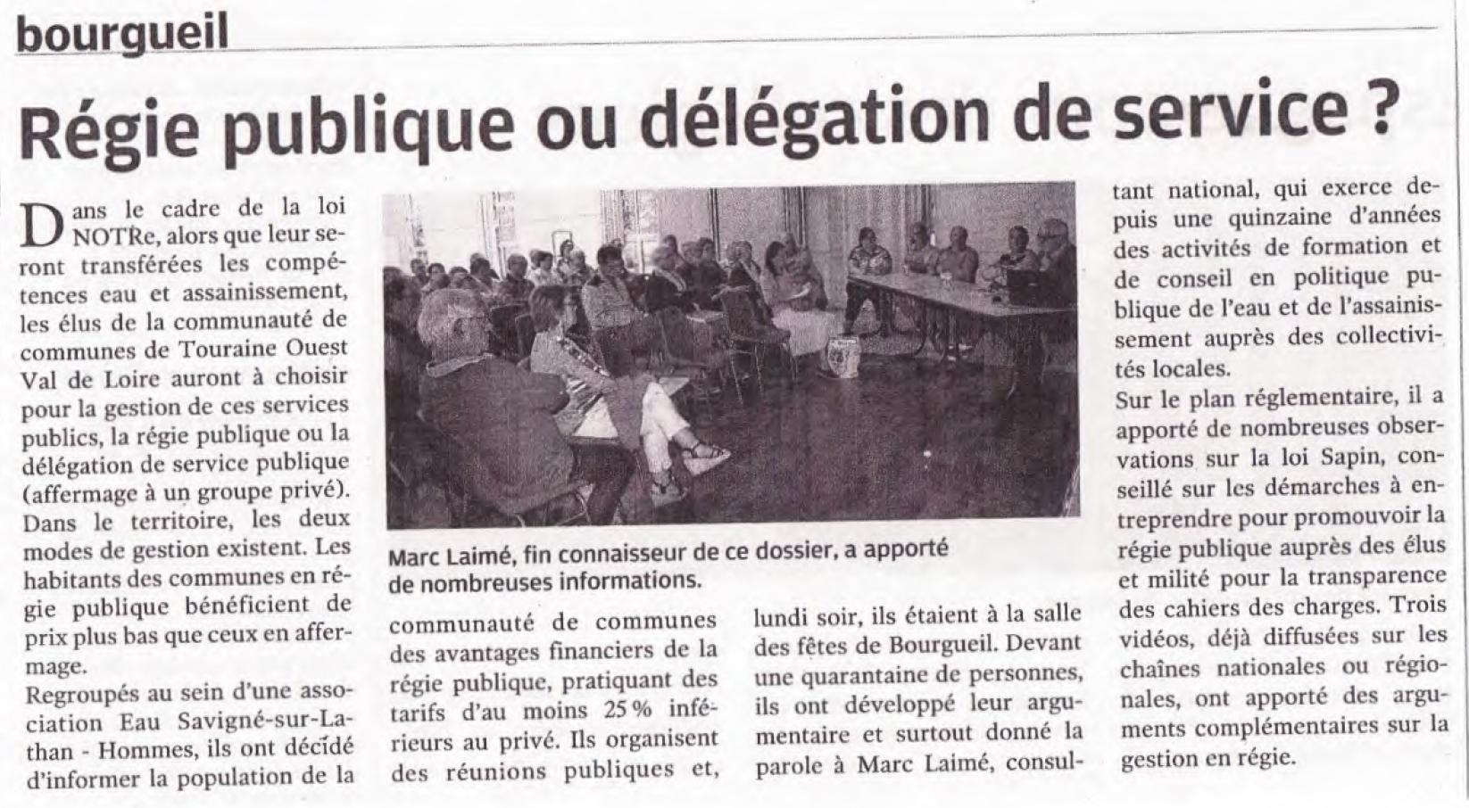 Nouvelle République 26 avril 2018 : Touraine Nord Ouest Val de Loire Bourgueil : Régie publique ou DSP ?
