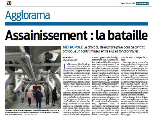 Sud Ouest 5 mai 2018 : Bordeaux Métropole : la bataille de l'assainissement