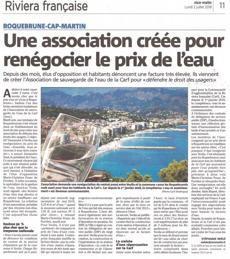 Roquebrune Cap Martin la Riviera française Nice matin 2 juillet 2018 : Une association créée pour renégocier le prix de l'eau