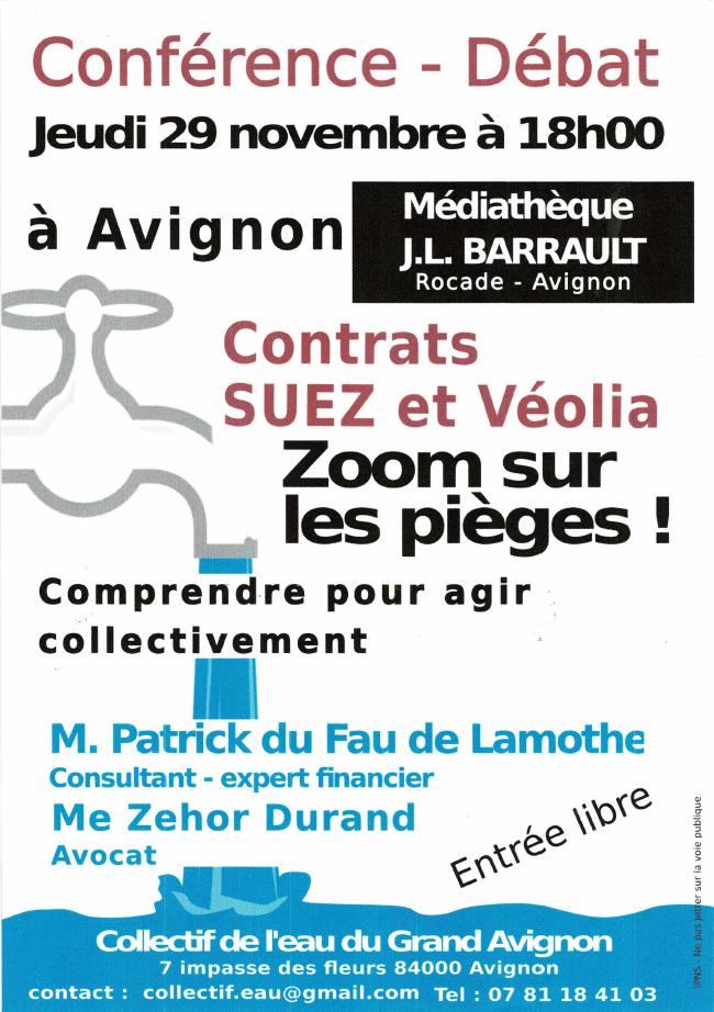 Réunion publique sur l'eau à Avignon le 29 novembre 2018