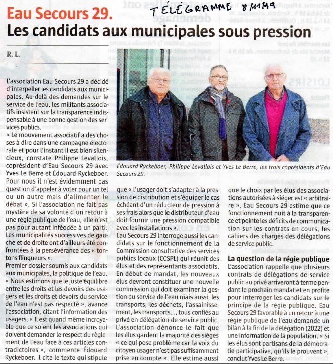 Le Télégramme 8 novembre 2019 Eau Secours 29 les candidats aux municipales sous pression sur la gestion de l'eau
