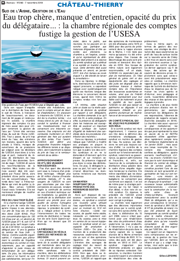 La justice enquête sur la gestion de l'eau dans le sud de l'aisne dont le délégataire est VEOLIA