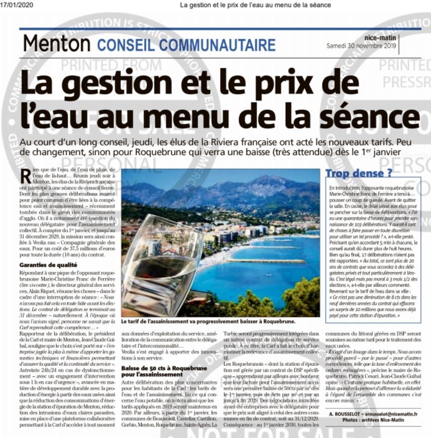 Menton conseil communautaire la gestion et le prix de l'eau au menu de la séance du 28 novembre 2019 (Nice Matin 30.11.19)
