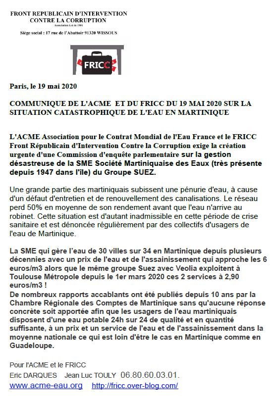 Communiqué de l'Acme et du Fricc : Demande de création urgente d'une commission d'enquête parlementaire sur la gestion désastreuse de l'eau par 2 multinationales depuis des décennies et ses conséquences des coupures et tours d'eau en Guadeloupe et Ma