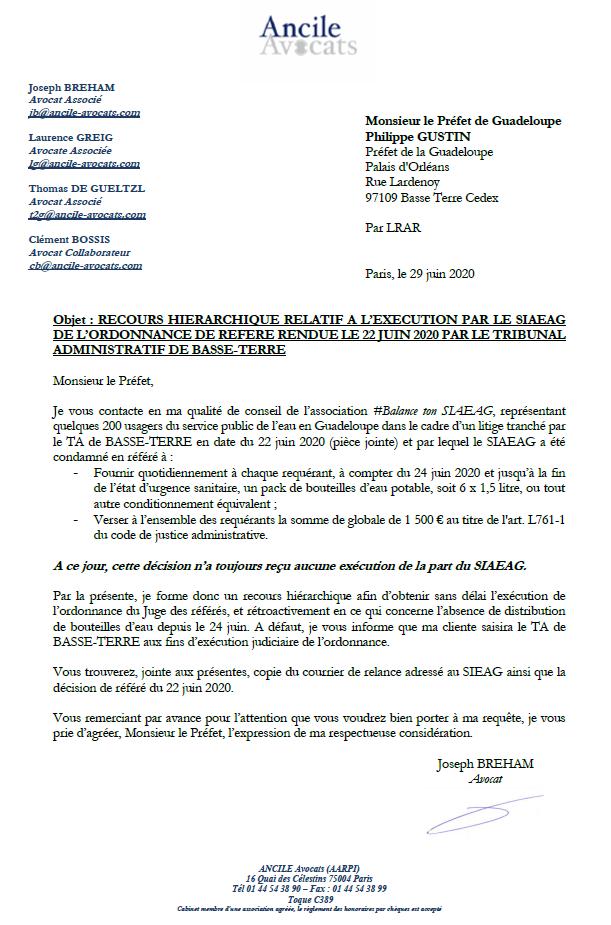 Courriers de Me Breham avocat de l'association @balancetonsiaeag (et de l'Acme et du Fricc) au président du SIAEAG et au Préfet de Guadeloupe sur la non exécution de l'ordonnance de référé du 22 juin 2020 condamnant le SIAEAG à fournir 9 litres d'eau