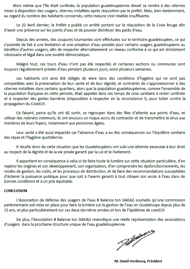 Communiqué : demande de commission d'enquête parlementaire sur la gestion catastrophique de l'eau en Guadeloupe par l'association guadeloupéenne Balance ton SIAEAG soutenue par l'ACME et le FRICC
