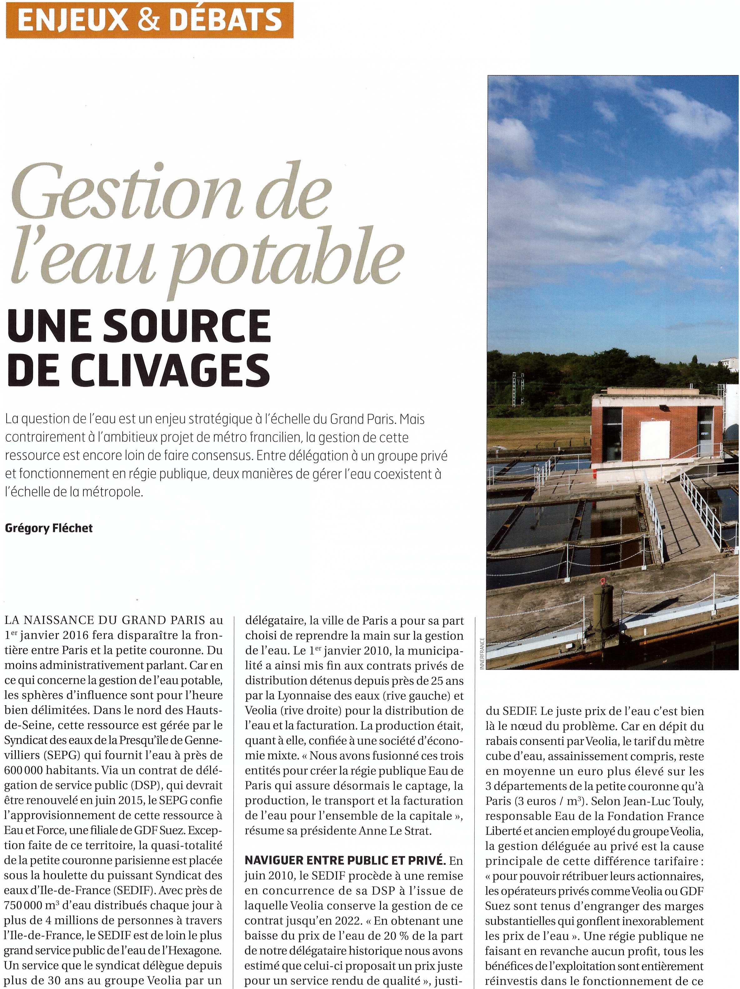 Grand Paris mai 2014 : Gestion de l'eau potable : une source de clivages : Public ou privé ?
