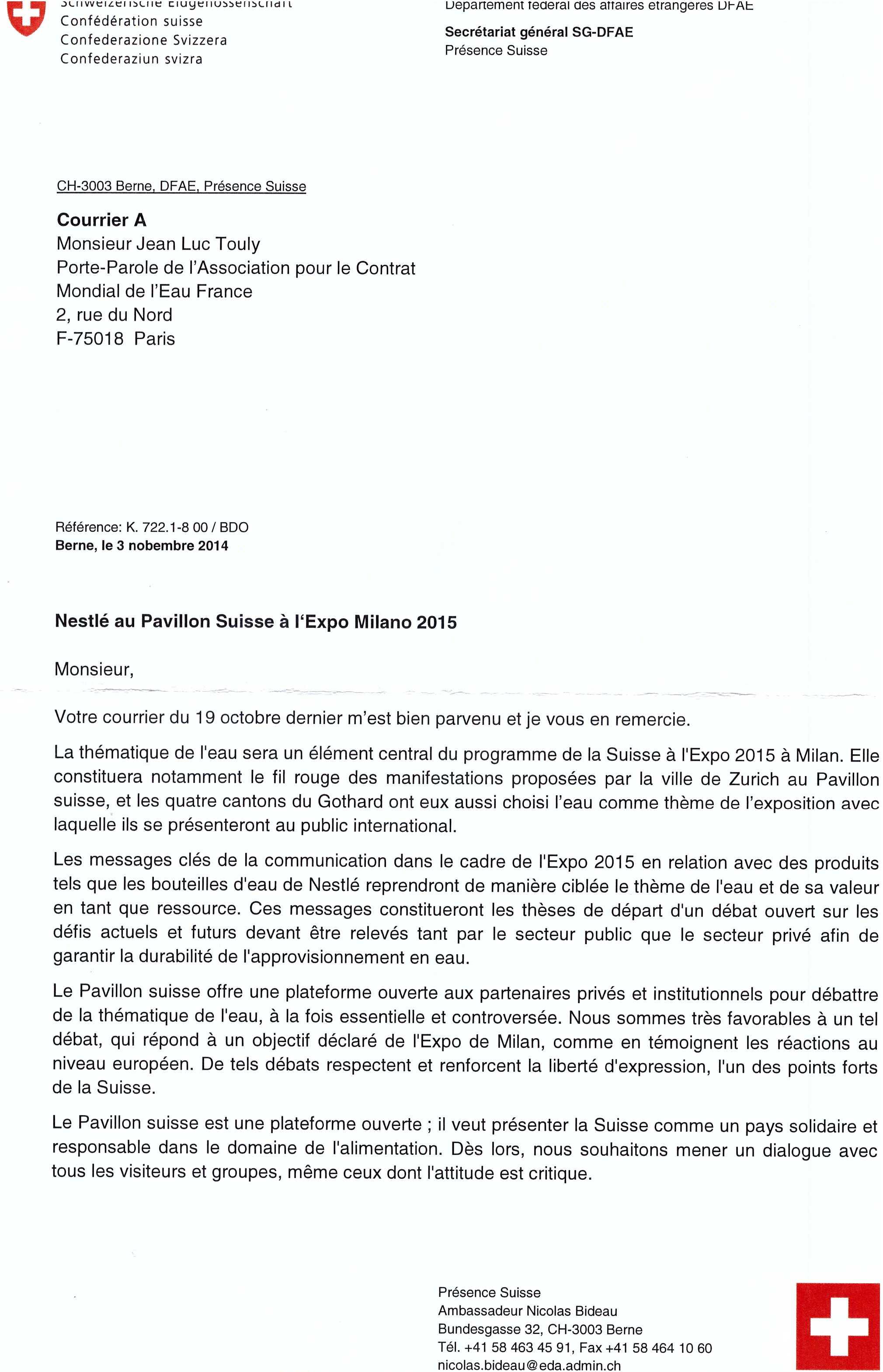 Réponse de l'ambassadeur de Présence suisse Nicolas Bideau sur la présence de Nestlé au porte parole de l'ACME France