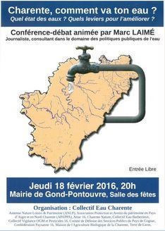 """18 février 20h Conférence """"Charente, comment va ton eau ?"""""""
