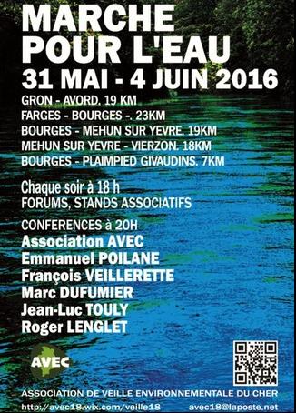 Marche pour l'eau Bourges 31 mai au 4 juin 2016