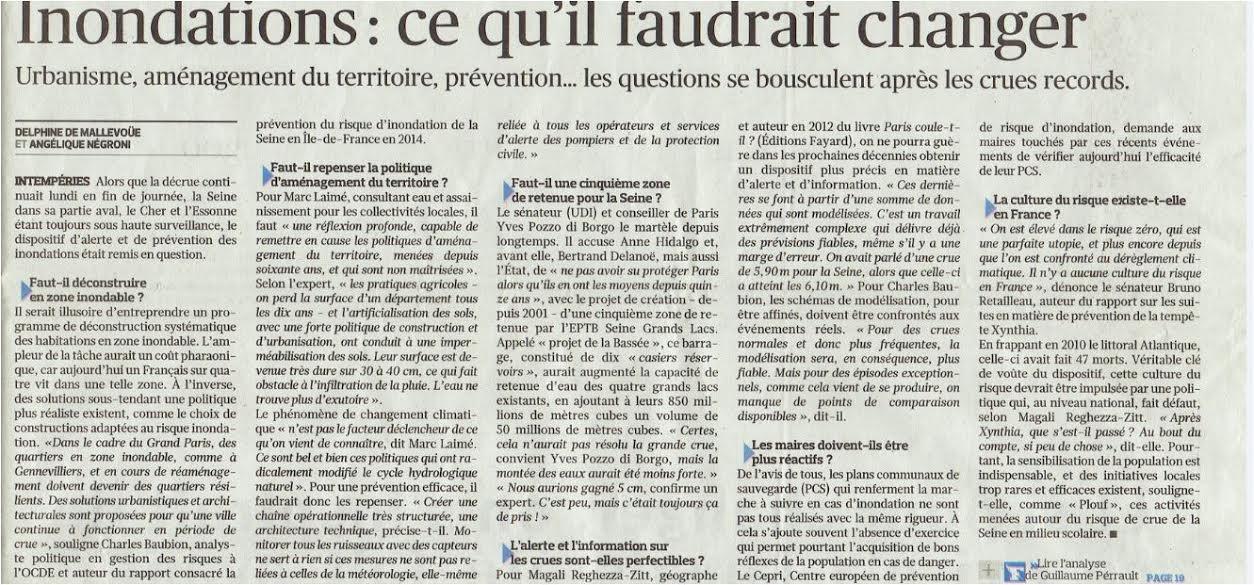 Le Figaro 8 juin : Inondations : ce qu'il faudrait changer